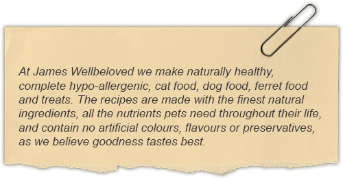 At James Wellbeloved we make naturally healthy, complete hypo-allergenic, cat food, dog food, ferret food and treats. The recipes are made with the finest natural ingredients, all the nutrients pets need throughout their life, and contain no artificial colours, flavours or preservatives, as we believe goodness tastes best.